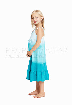 Buy stock photo Full length of pretty young girl standing over white background
