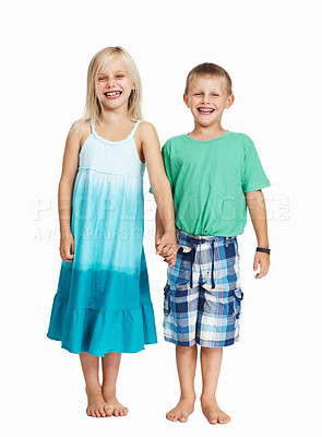 Buy stock photo Full length of happy children standing together holding hands on white background