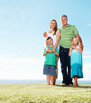 Buy stock photo Full length of family having fun together at park