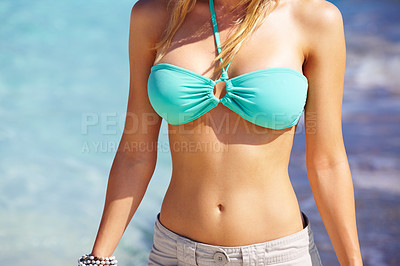 Buy stock photo Cropped image of a mid part of a sexy young lady - Fit and healthy