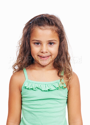 Buy stock photo Closeup portrait of a cute little girl standing isolated on white background