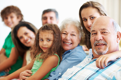 Buy stock photo Family portrait - Closeup portrait of senior man with his family