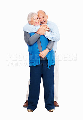 Buy stock photo Full length of senior business man embracing his wife from behind