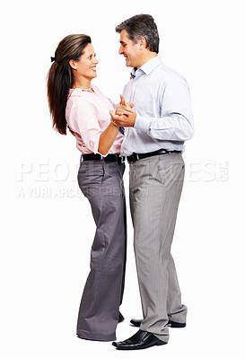 Buy stock photo Full length of romantic business couple dancing on white background