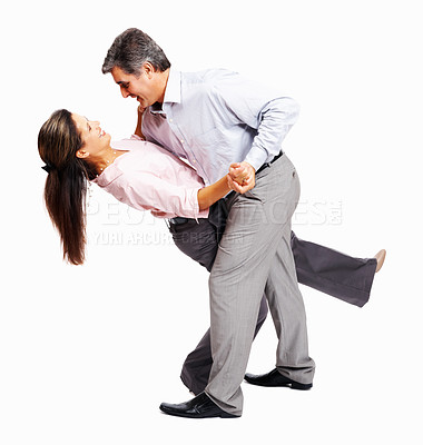 Buy stock photo Full length of loving business couple dancing on white background