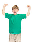 Celebrating success - Happy adorable kid standing with raised  hand