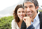 Closeup of mature man smiling with his wife