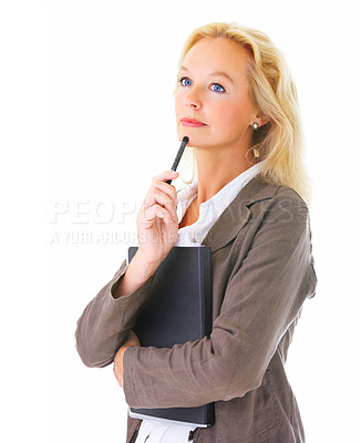 Buy stock photo Studio shot of a mature businesswoman holding a file isolated on white