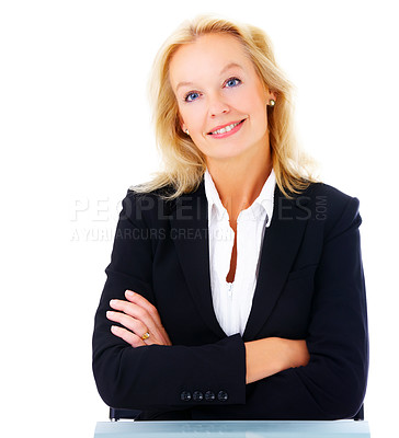 Buy stock photo Portrait of a mature businesswoman sitting at a table isolated on white