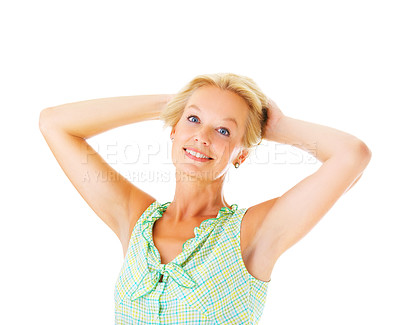 Buy stock photo Studio portrait of an attractive mature woman with her arms behind her head isolated on whit