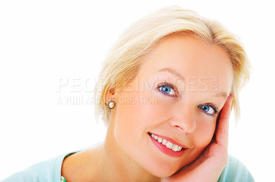 Buy stock photo Closeup portrait of an attractive mature woman with her hand on her cheek isolated on white