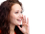 Charming young woman gesturing a verbal call