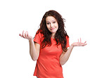 I don't know - Young woman with outstretched hands
