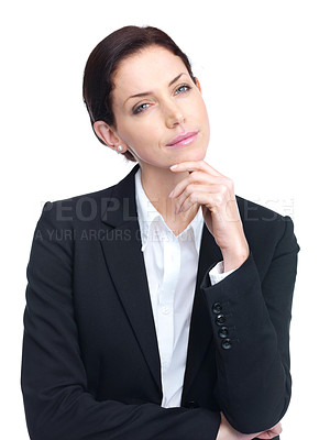 Cute young female entrepreneur lost in deep thought