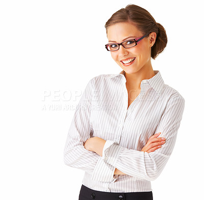Buy stock photo Young happy businesswoman isolated over white background