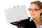 Beautiful businesswoman holding a notecard