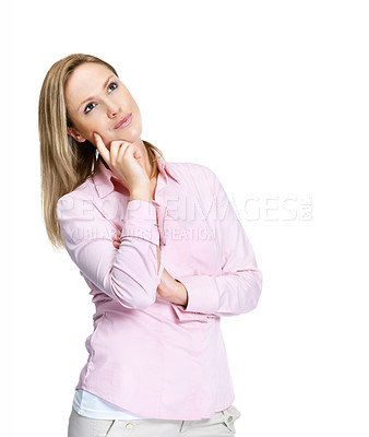 Buy stock photo Portrait of a thoughtful female standing isolated against white