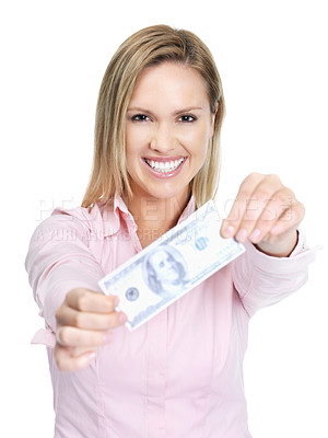 Buy stock photo Portrait of a cute young woman holding an American currency note