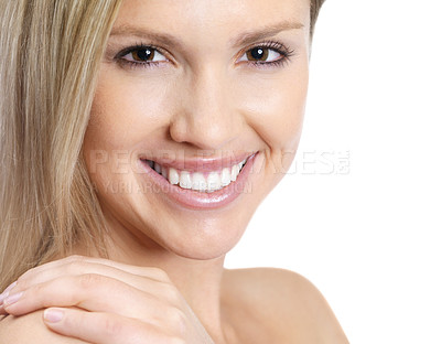 Buy stock photo Closeup portrait of a naturally beautiful young woman smiling brightly, isolated on white - copyspace