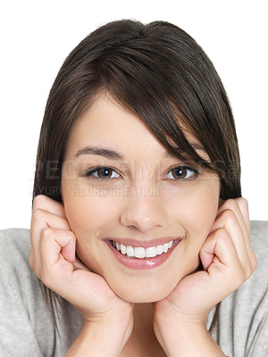 Buy stock photo Closeup portrait of a cute woman smiling against white background