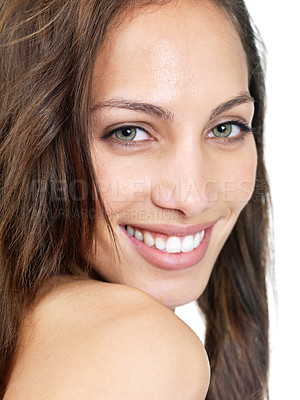 Buy stock photo Closeup portrait of a happy young lady smiling