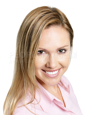 Buy stock photo Closeup portrait of a beautiful young female smiling against white background