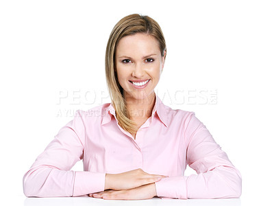 Buy stock photo Portrait of a confident young female sitting against white background
