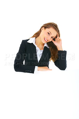 Buy stock photo Portrait of a beautiful business woman holding a blank billboard.