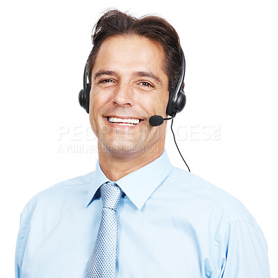 Buy stock photo Studio portrait of a customer service agent wearing a headset against a white background