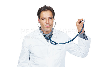 Buy stock photo Portrait of mature physician examines something with stethoscope on white background