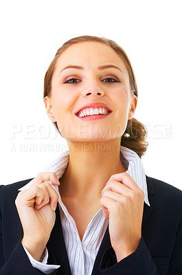Buy stock photo Portrait of an attractive young woman, isolated on a white background..