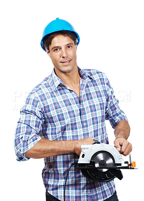 Buy stock photo Portrait of mature male worker with a circular saw isolated against white background