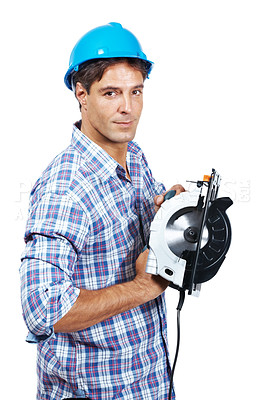Buy stock photo Portrait of mature construction worker with a circular saw isolated against white background
