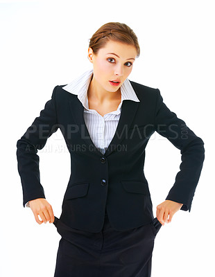 Buy stock photo Empty pockets. Business going bankrupt