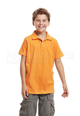 Buy stock photo Portrait of a cute little boy smiling on white background