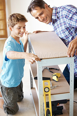 Buy stock photo Portrait of father and son building a rack in workshop - Carpentry