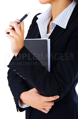 Buy stock photo Close-up of a model in business attire, without face. Dressed for success