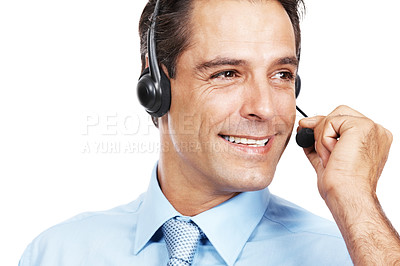 Buy stock photo Studio shot of a customer service agent wearing a headset against a white background