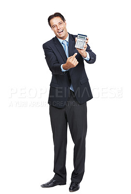 Buy stock photo Portrait of a businessman holding up and pointing at a calculator against a white background