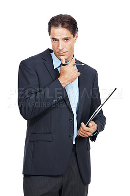 Buy stock photo Portrait of businessman holding a clipboard and pen against a white background