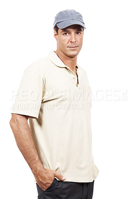 Buy stock photo Portrait of a mature man in casual wear standing against a white background