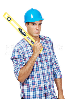 Buy stock photo Portrait of an adult construction worker holding spirit level isolated on white background