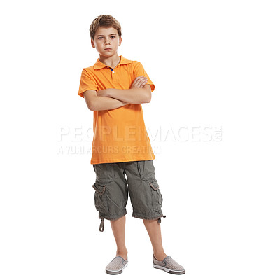 Buy stock photo Full length of serious little boy with hands folded standing isolated on white background