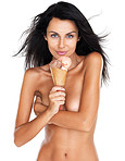 Nude young female standing with icecream