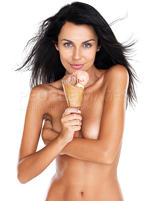 Buy stock photo Portrait of a nude young female holding an icecream against white background