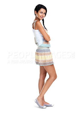 Buy stock photo Full length of a gorgeous young woman standing against white background