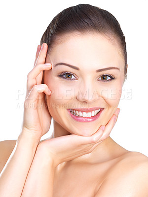 Buy stock photo Close up portrait of a beautiful female model. Happiness and fun