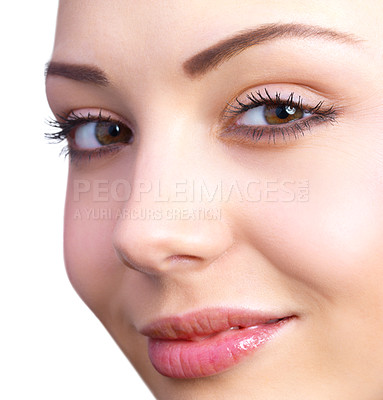 Buy stock photo Closeup portrait of a young beautiful woman, with a sexy smile.