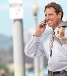 Mature businessman talking on mobile phone