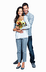 Cute couple with flowers